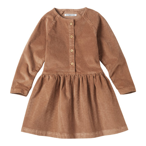 Corduroy Button Dress Caramel