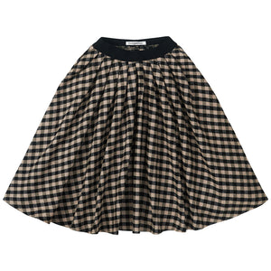 Flannel Checked Midi Skirt Black/Caramel