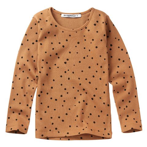 Rib Top Dots Caramel / Black