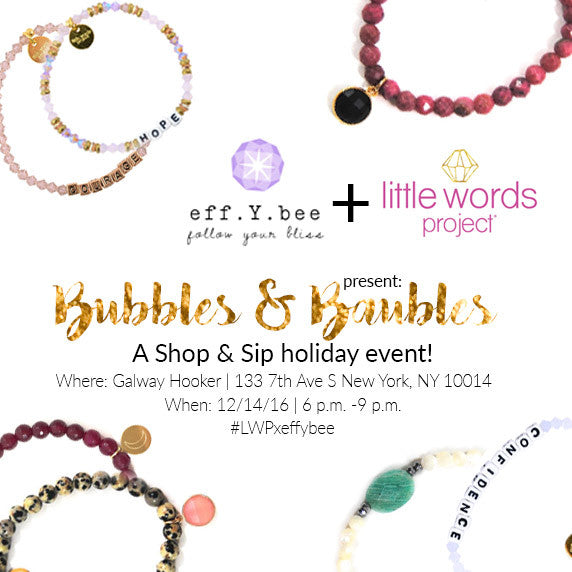 You're Invited: Bubbles & Baubles Holiday Party with Little Words Project!