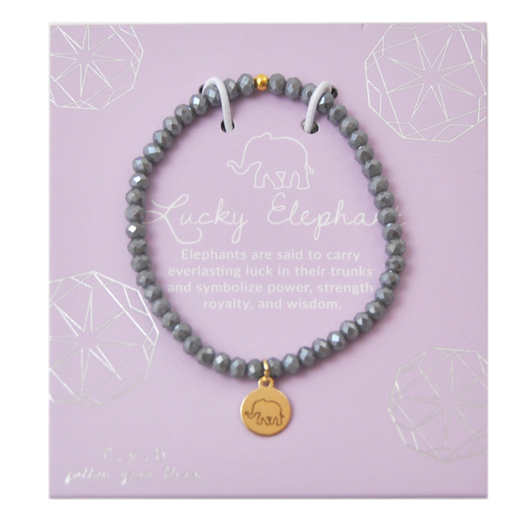 MINI CRYSTAL GREY LUCKY ELEPHANT - eff.Y.bee