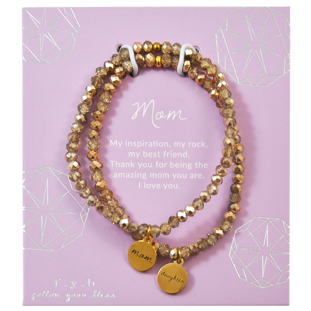 Gold Crystal Mom & Daughter Set