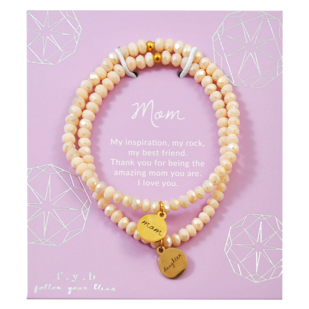 Peach Crystal Mom & Daughter Set