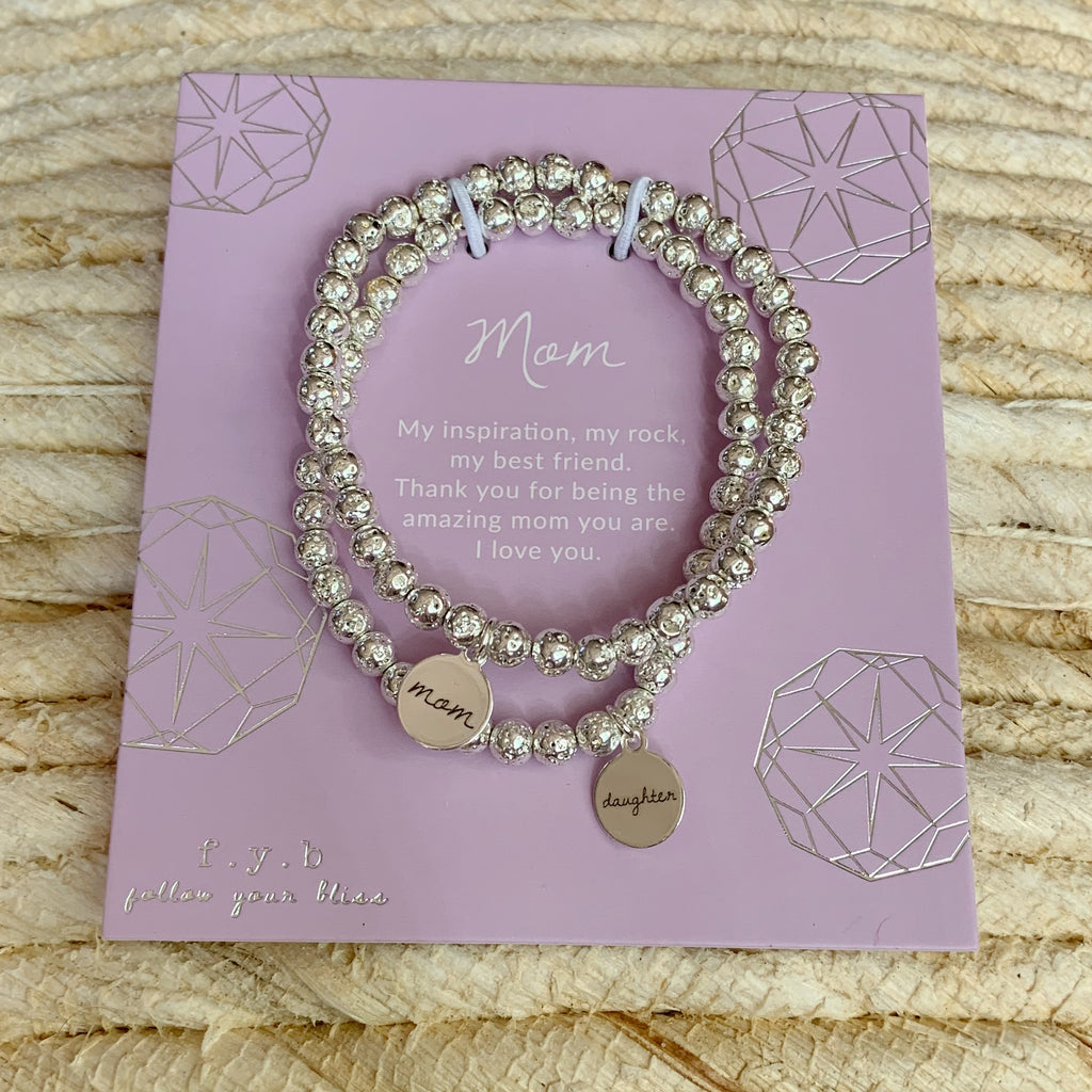 Silver Lavastone Mother Daughter Bracelet Set - eff.Y.bee