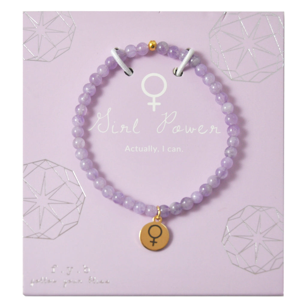 LILAC AMETHYST GIRL POWER BRACELET - 40% FOR THE BIPARTISAN FEMINIST PROJECT - eff.Y.bee