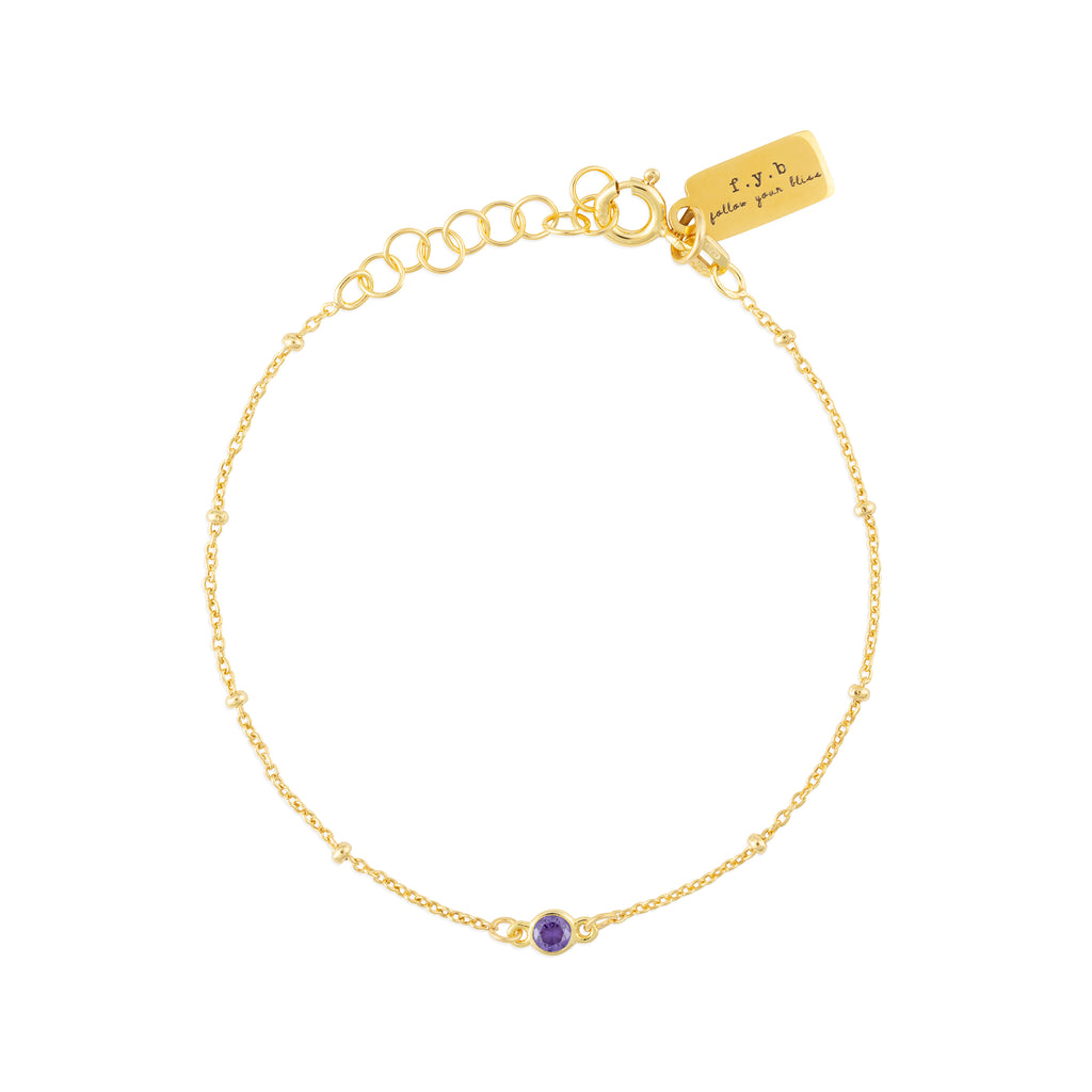 FEBRUARY BIRTHSTONE BRACELET GOLD