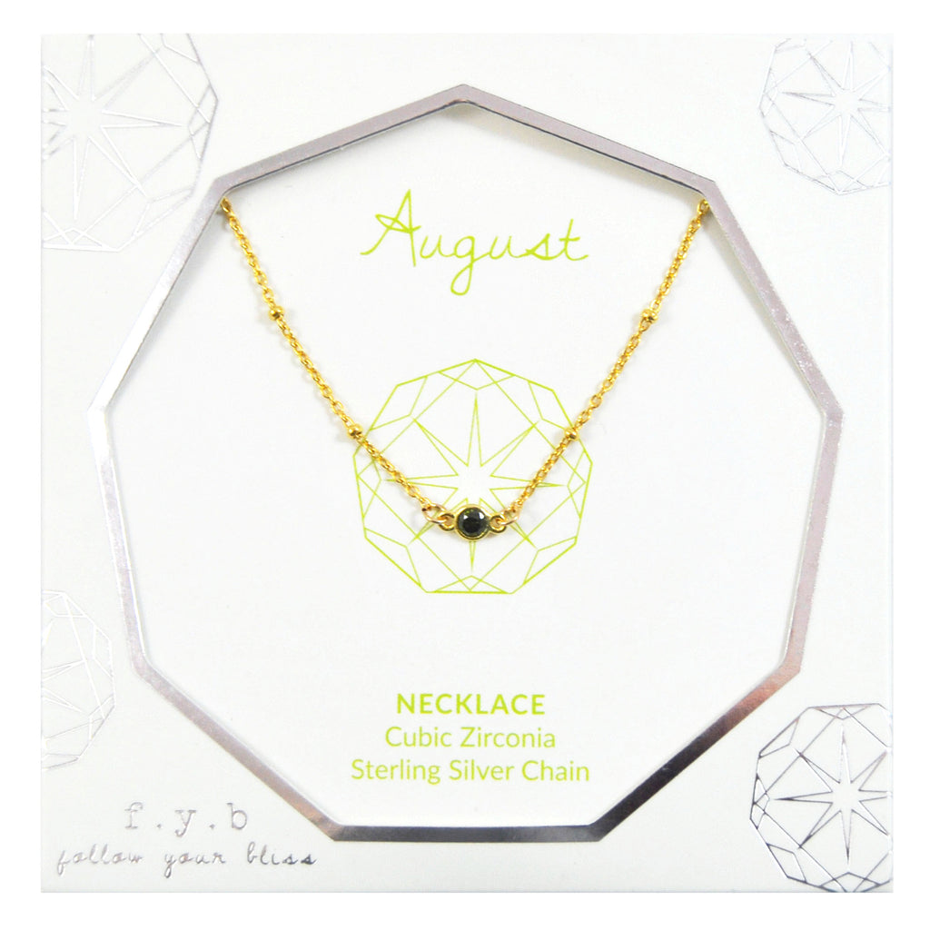 AUGUST BIRTHSTONE NECKLACE GOLD