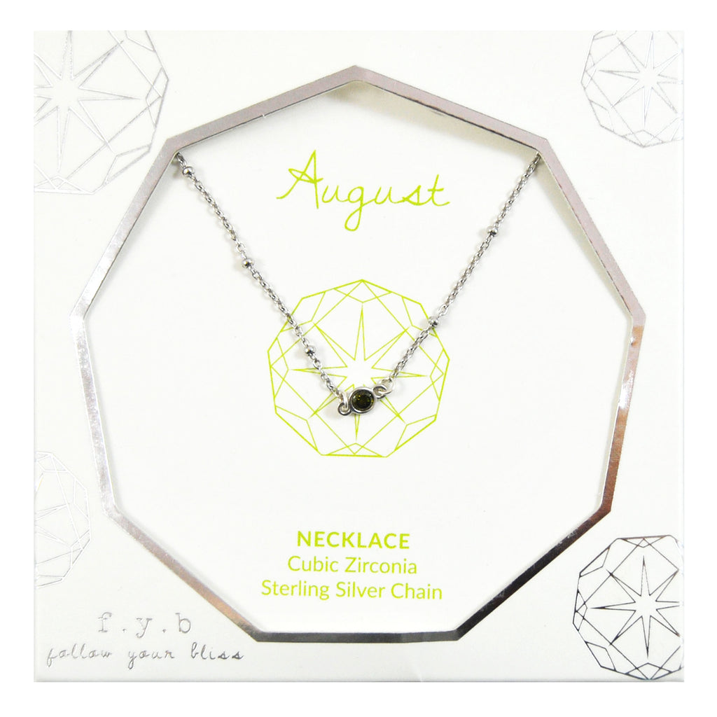 AUGUST BIRTHSTONE NECKLACE SILVER