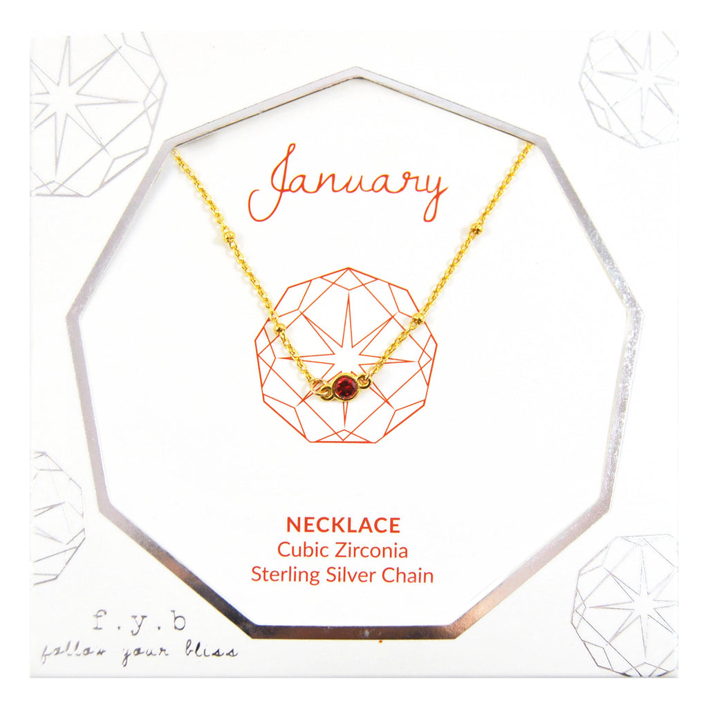 JANUARY BIRTHSTONE NECKLACE GOLD