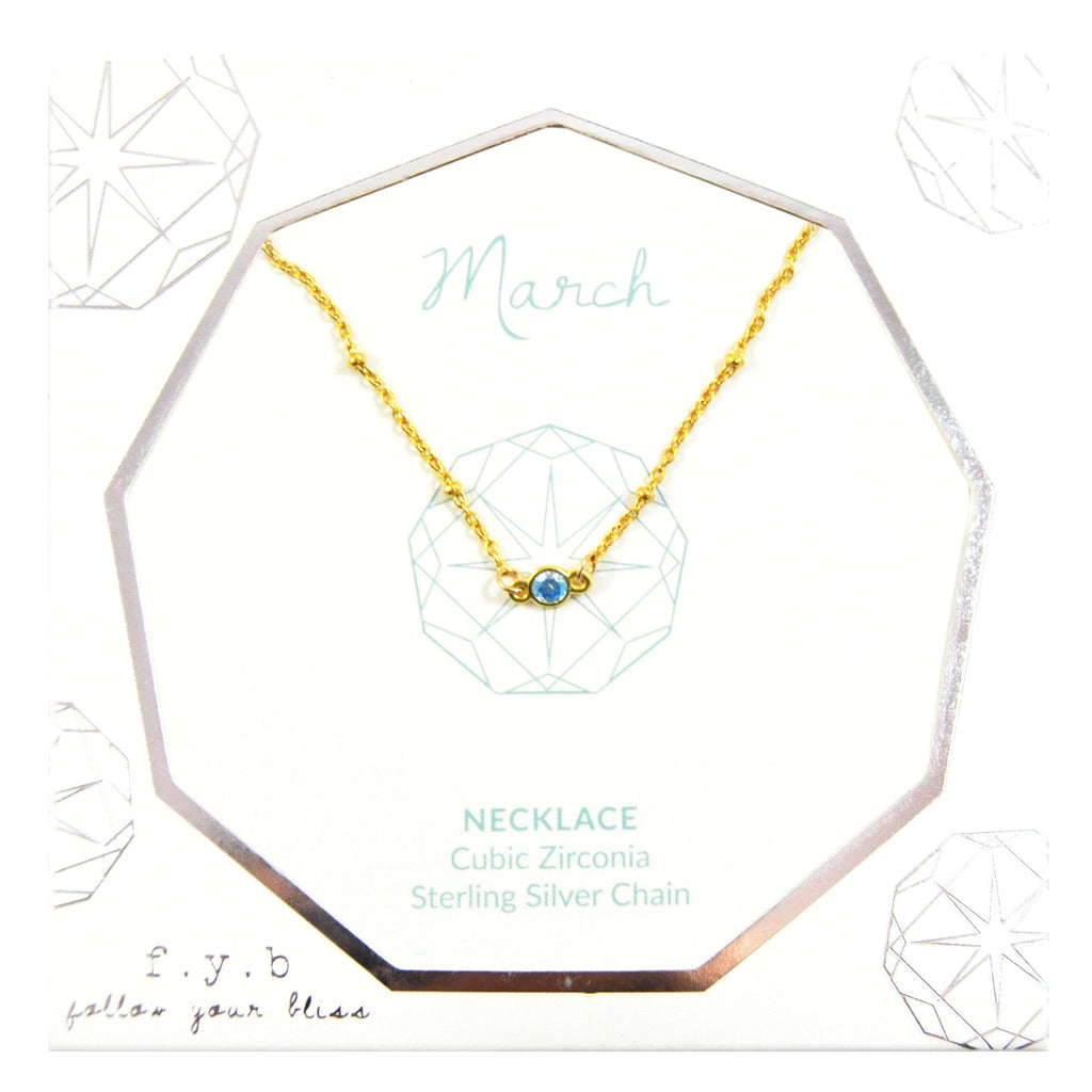 MARCH BIRTHSTONE NECKLACE GOLD