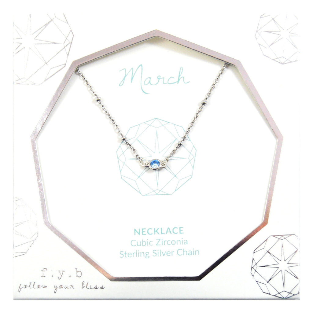 MARCH BIRTHSTONE NECKLACE SILVER
