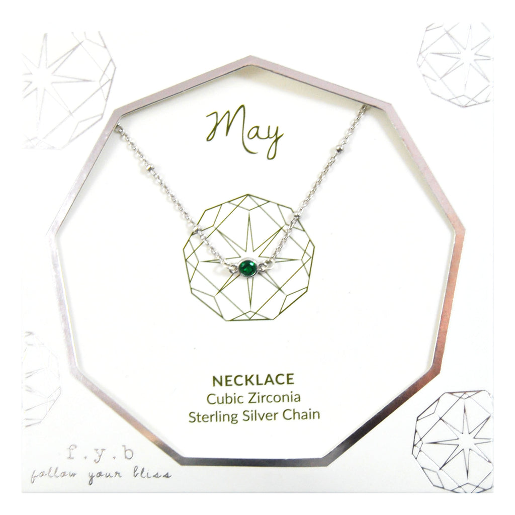 MAY BIRTHSTONE NECKLACE SILVER