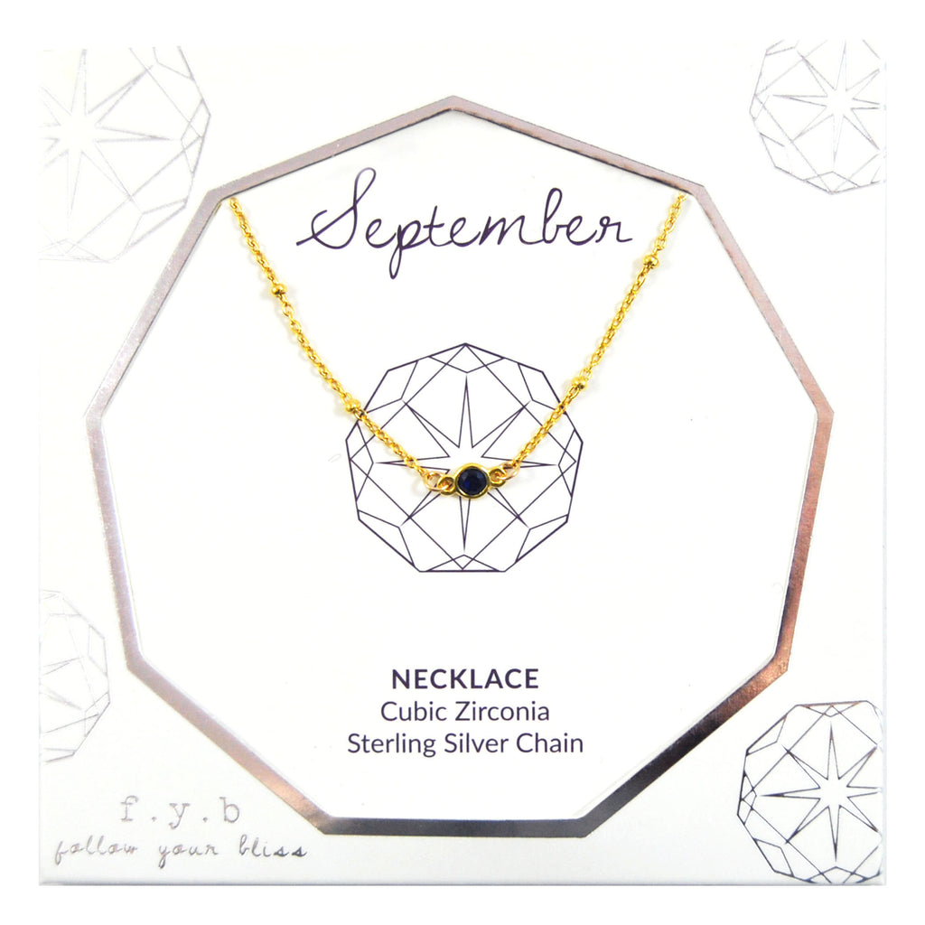 SEPTEMBER BIRTHSTONE NECKLACE GOLD