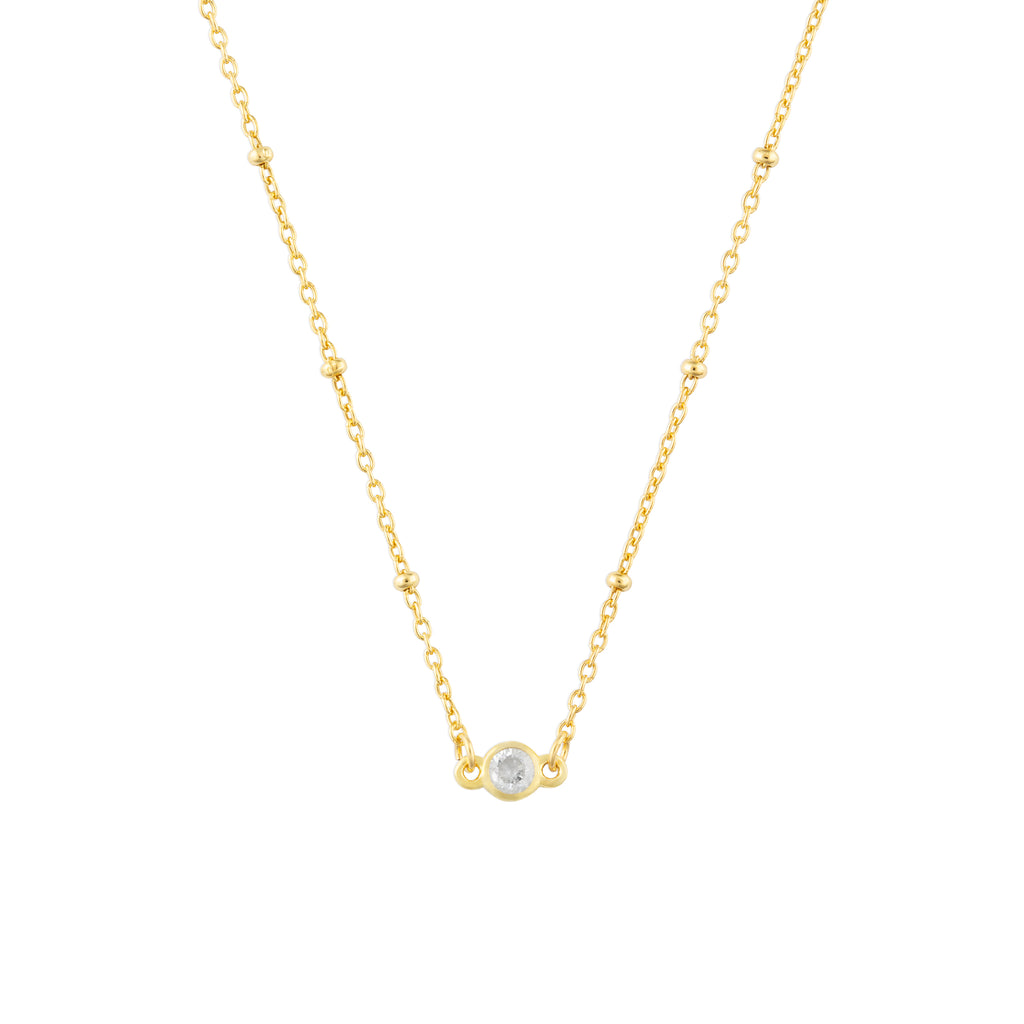 APRIL BIRTHSTONE NECKLACE GOLD