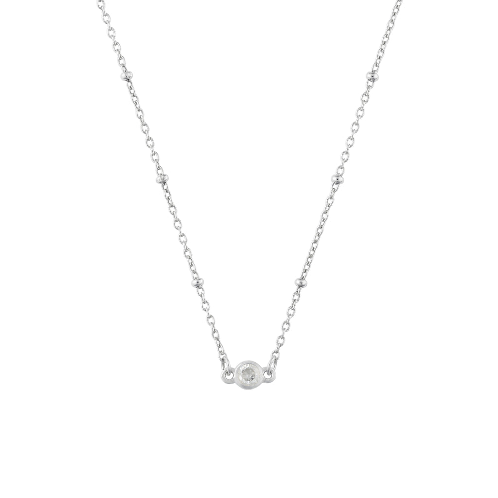 APRIL BIRTHSTONE NECKLACE SILVER
