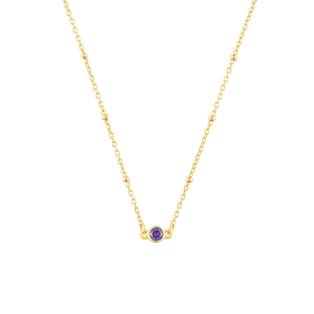 FEBRUARY BIRTHSTONE NECKLACE GOLD
