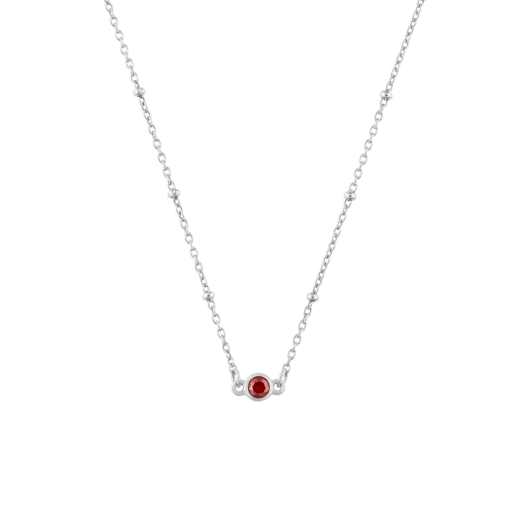 JANUARY BIRTHSTONE NECKLACE SILVER
