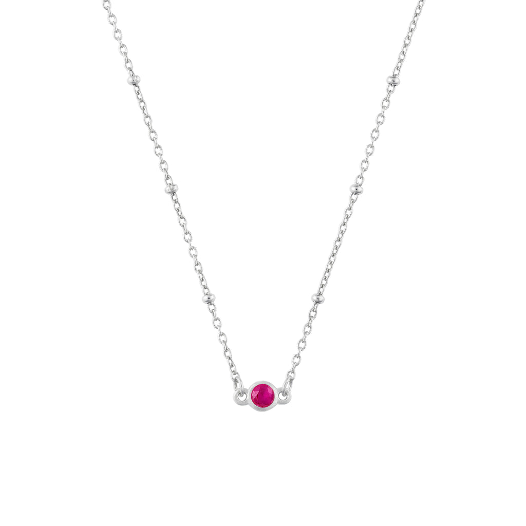 JULY BIRTHSTONE NECKLACE SILVER