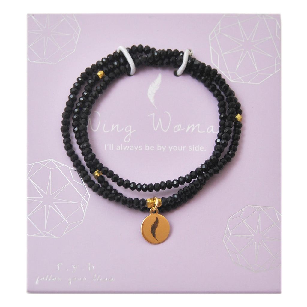 CRYSTAL WRAP BRACELET BLACK WING WOMAN - eff.Y.bee