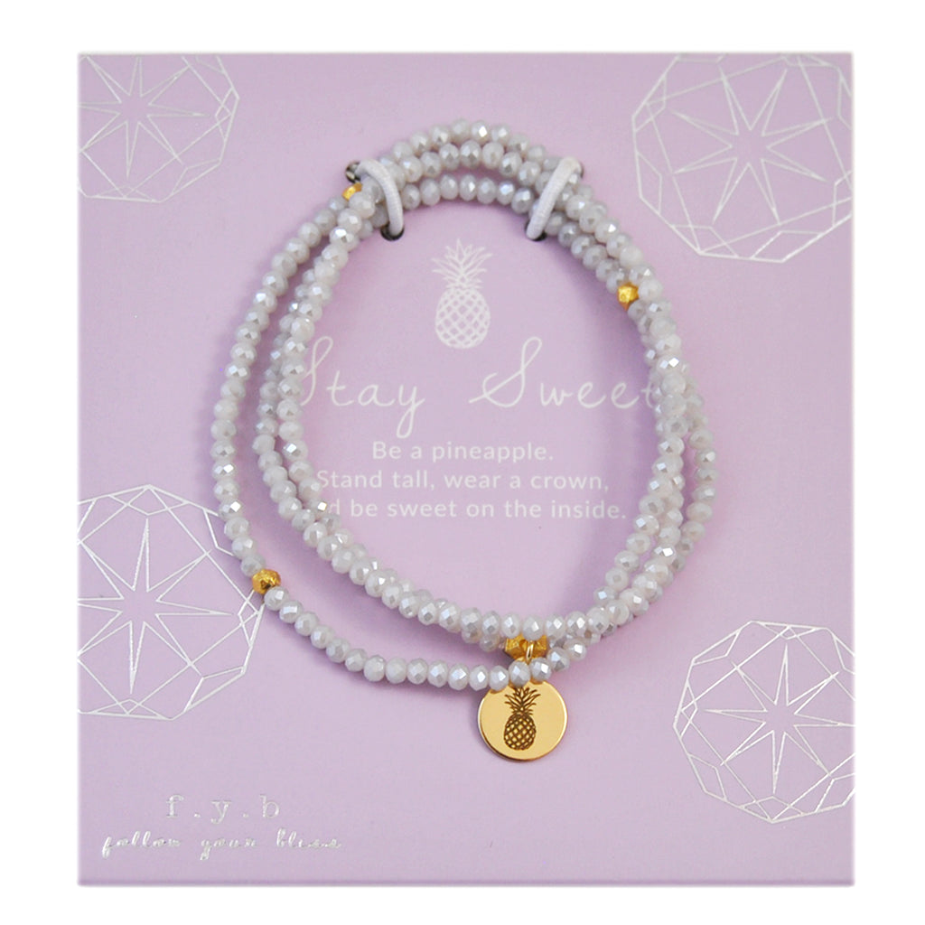 CRYSTAL WRAP BRACELET DOVE GREY STAY SWEET - eff.Y.bee