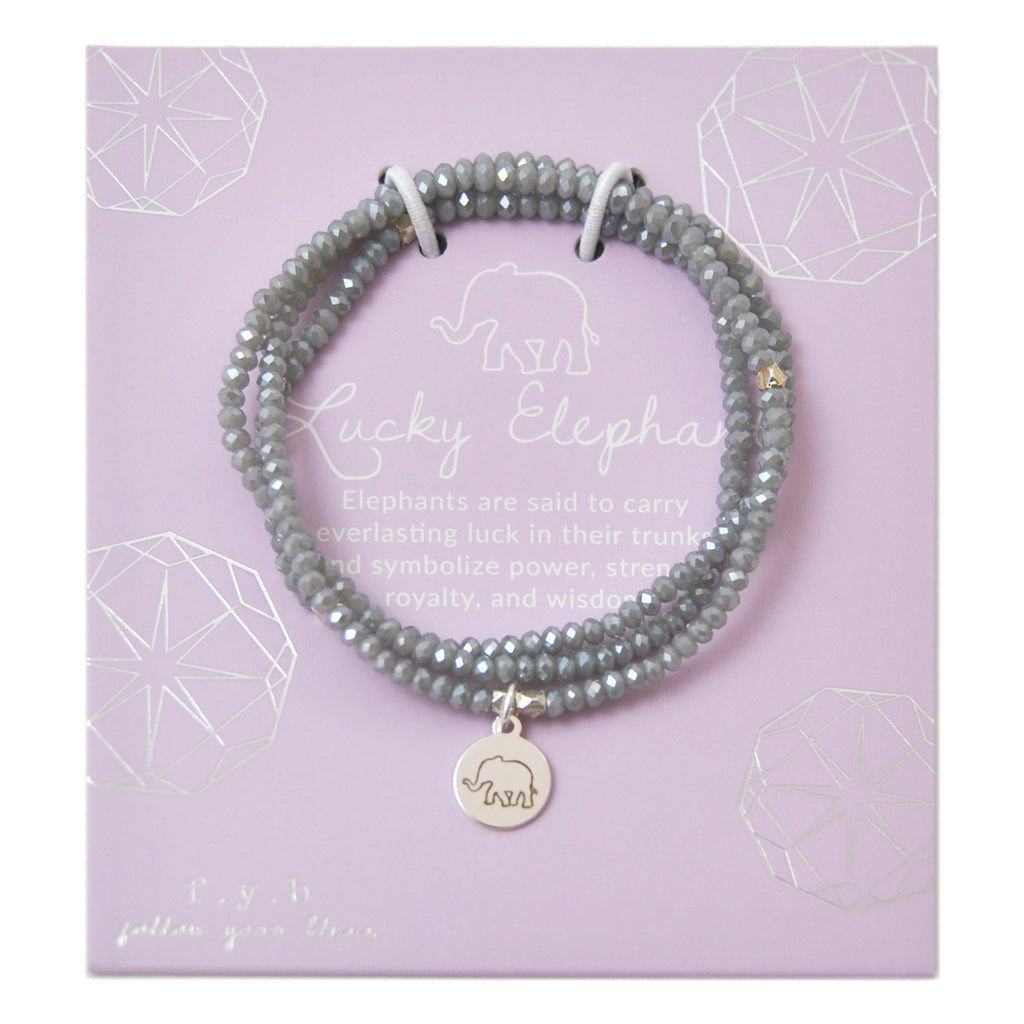 CRYSTAL WRAP BRACELET GREY LUCKY ELEPHANT - eff.Y.bee