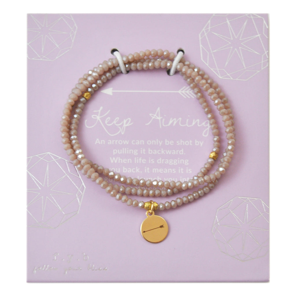 CRYSTAL WRAP BRACELET NUDE KEEP AIMING - eff.Y.bee
