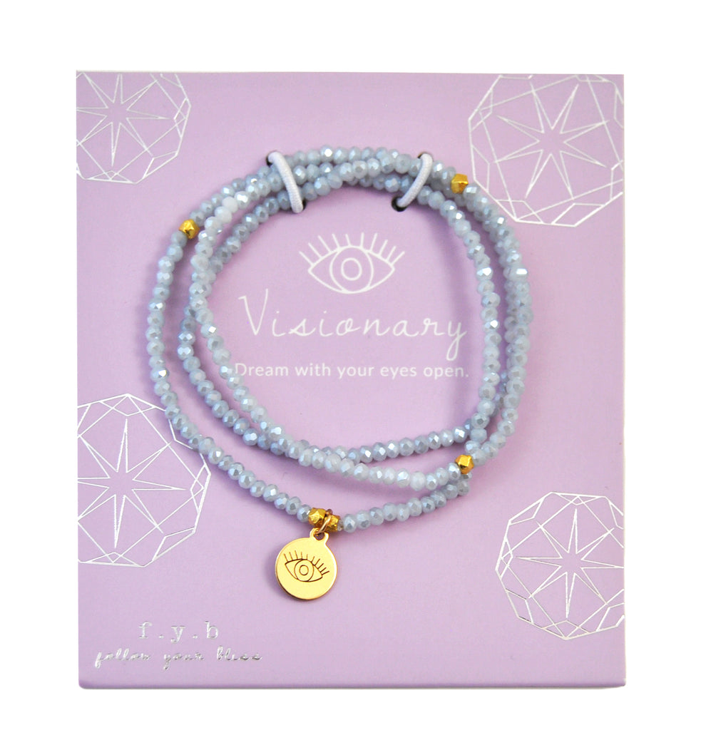 CRYSTAL WRAP BRACELET POWDER BLUE VISIONARY - eff.Y.bee