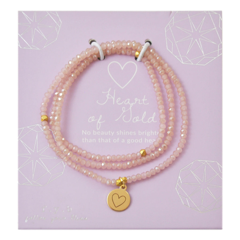 CRYSTAL WRAP BRACELET ROSE HEART - eff.Y.bee
