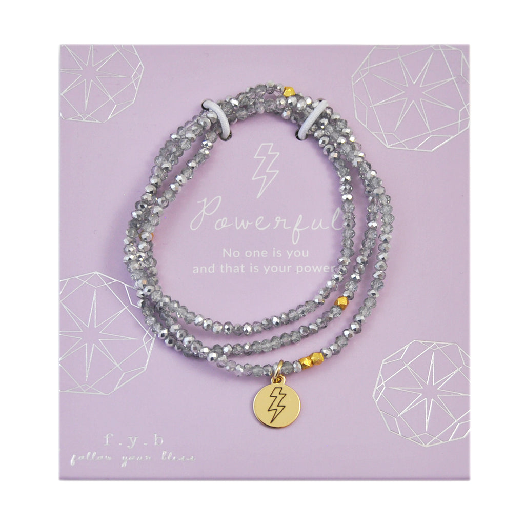 CRYSTAL WRAP BRACELET SILVER POWERFUL - eff.Y.bee