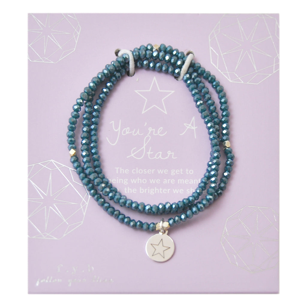 CRYSTAL WRAP BRACELET TEAL YOU'RE A STAR
