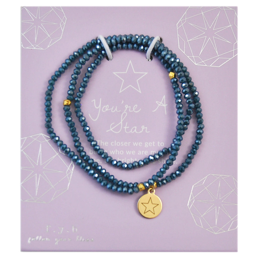 CRYSTAL WRAP BRACELET TEAL YOU'RE A STAR - eff.Y.bee