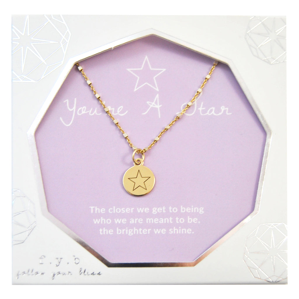 SHIMMER CHARM NECKLACE YOU'RE A STAR - eff.Y.bee
