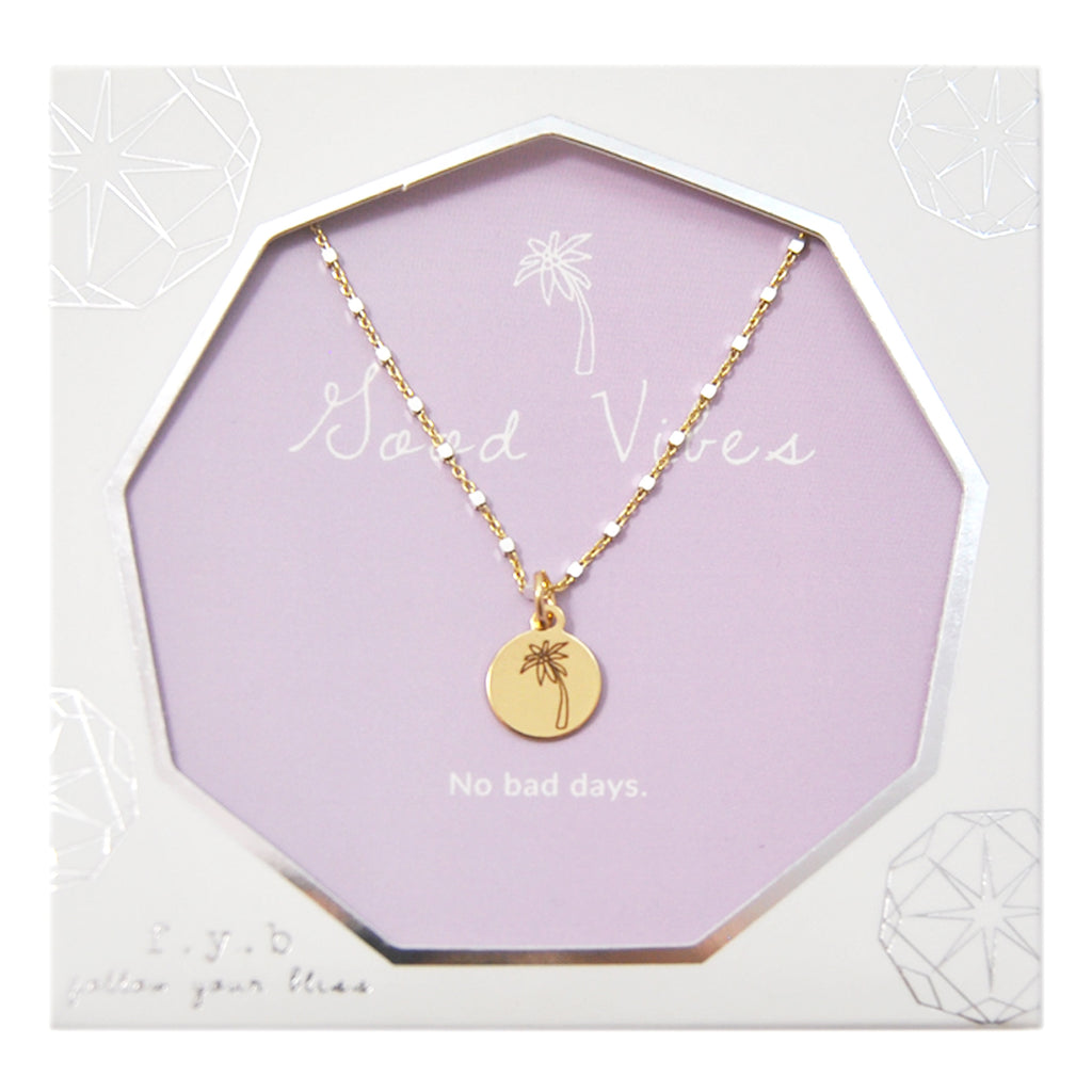SHIMMER CHARM NECKLACE GOOD VIBES - eff.Y.bee