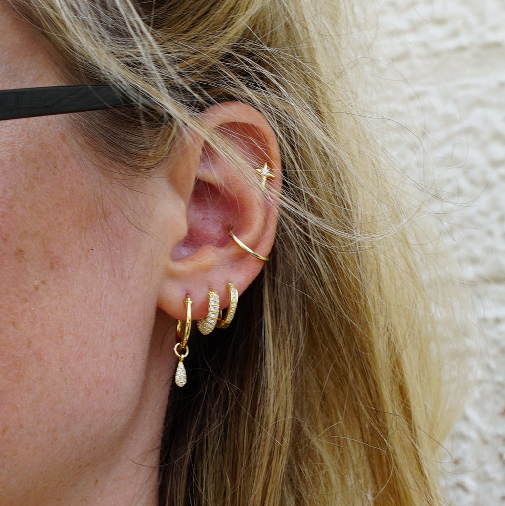KAIA HOOP EARRINGS GOLD CZ - eff.Y.bee