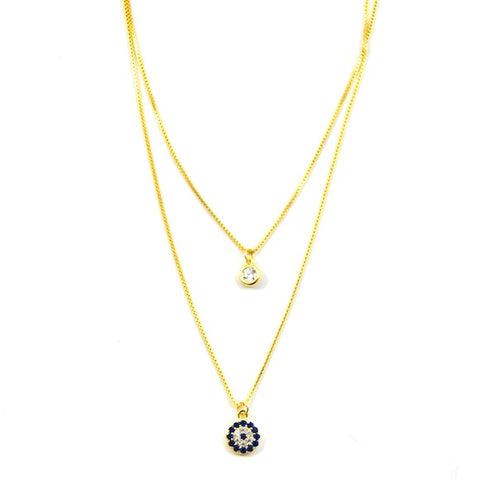 Silver Evil Eye Lily Layer Necklace