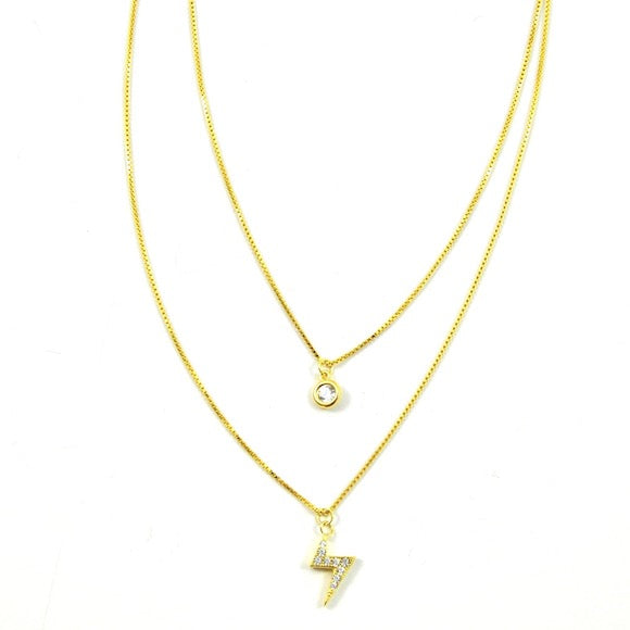 Gold Lightning Bolt Lily Layer Necklace - eff.Y.bee