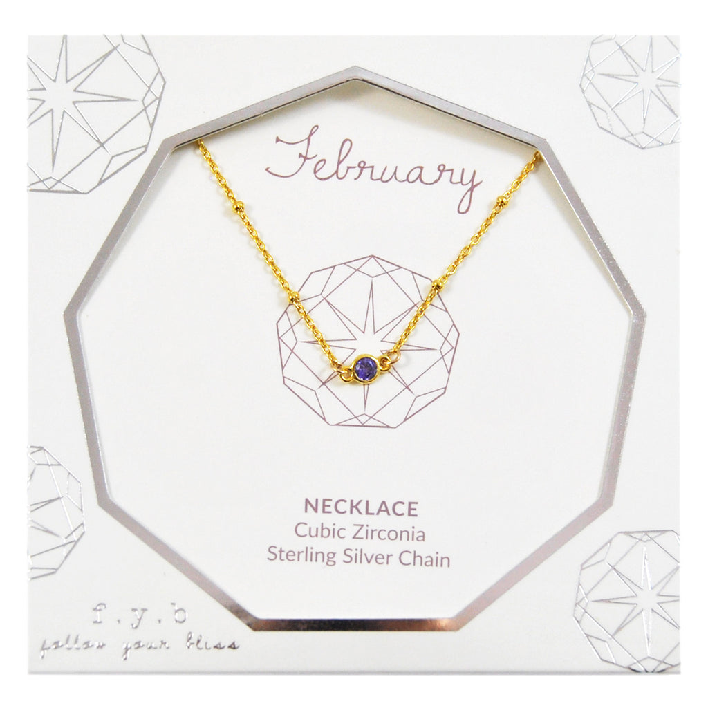 FEBRUARY BIRTHSTONE NECKLACE SILVER