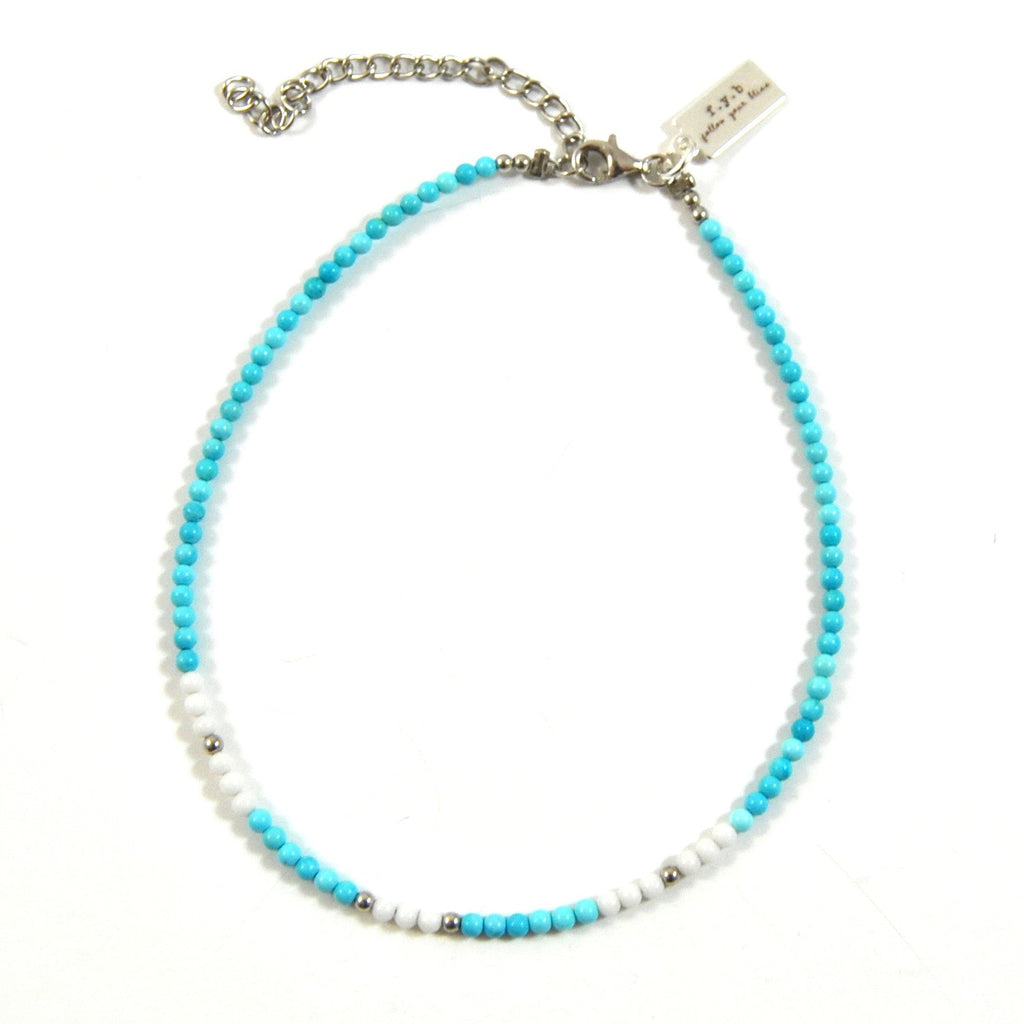 TURQUOISE SEED BEAD ANKLET