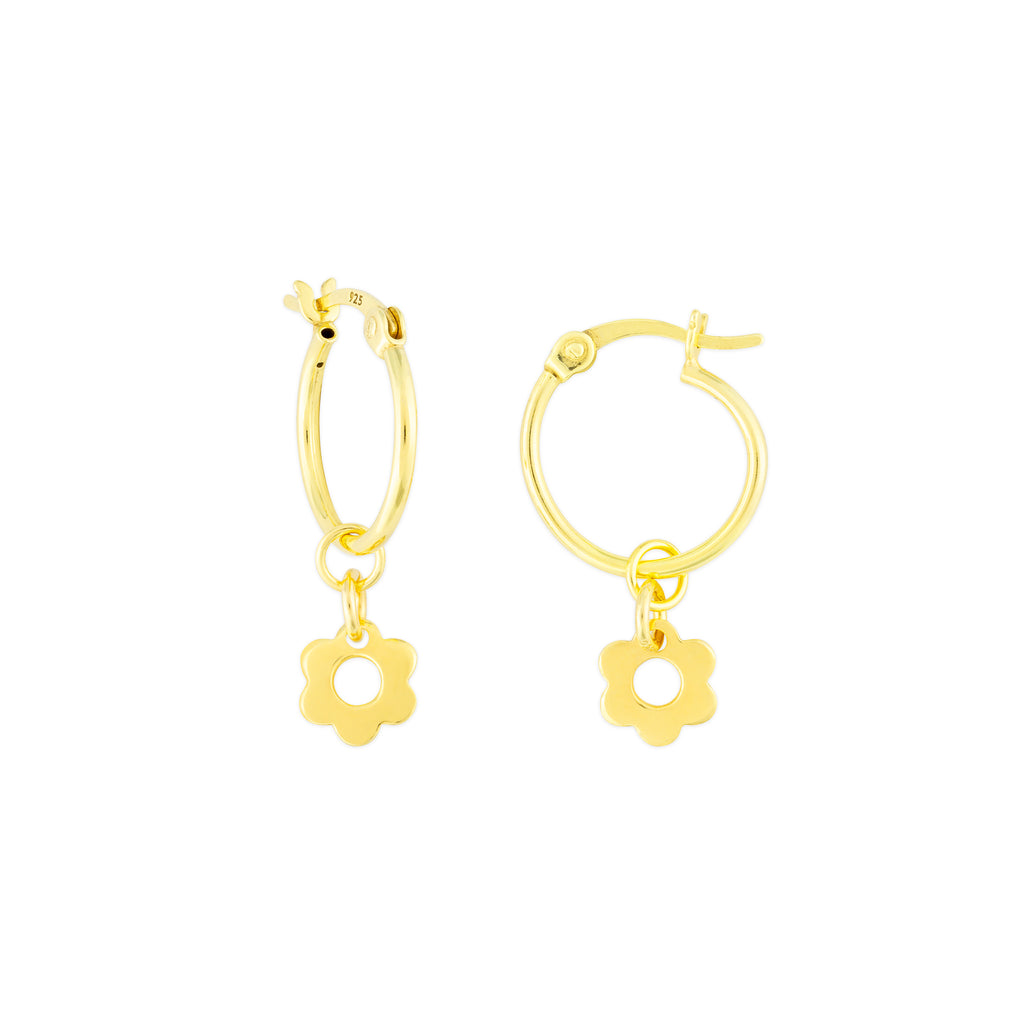 KAIA HOOP EARRINGS GOLD FLOWER