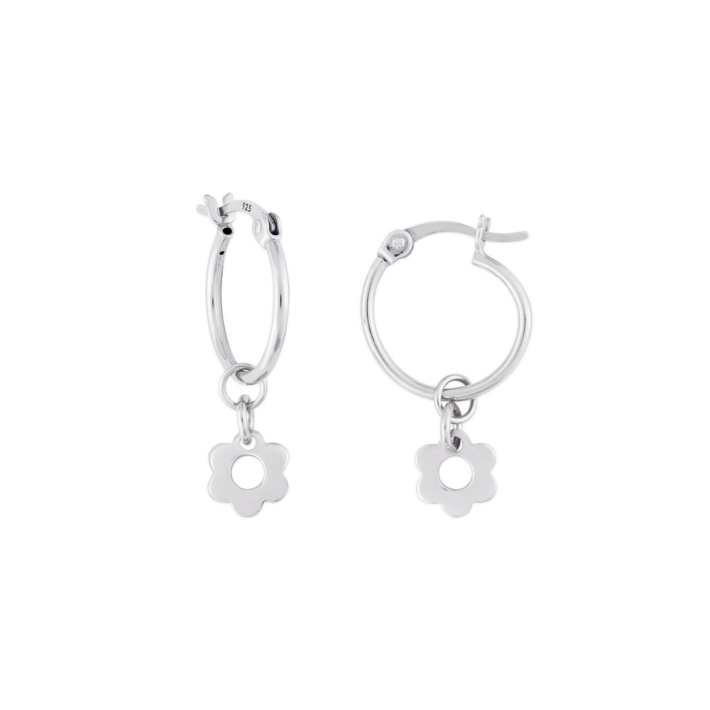 KAIA HOOP EARRINGS SILVER FLOWER