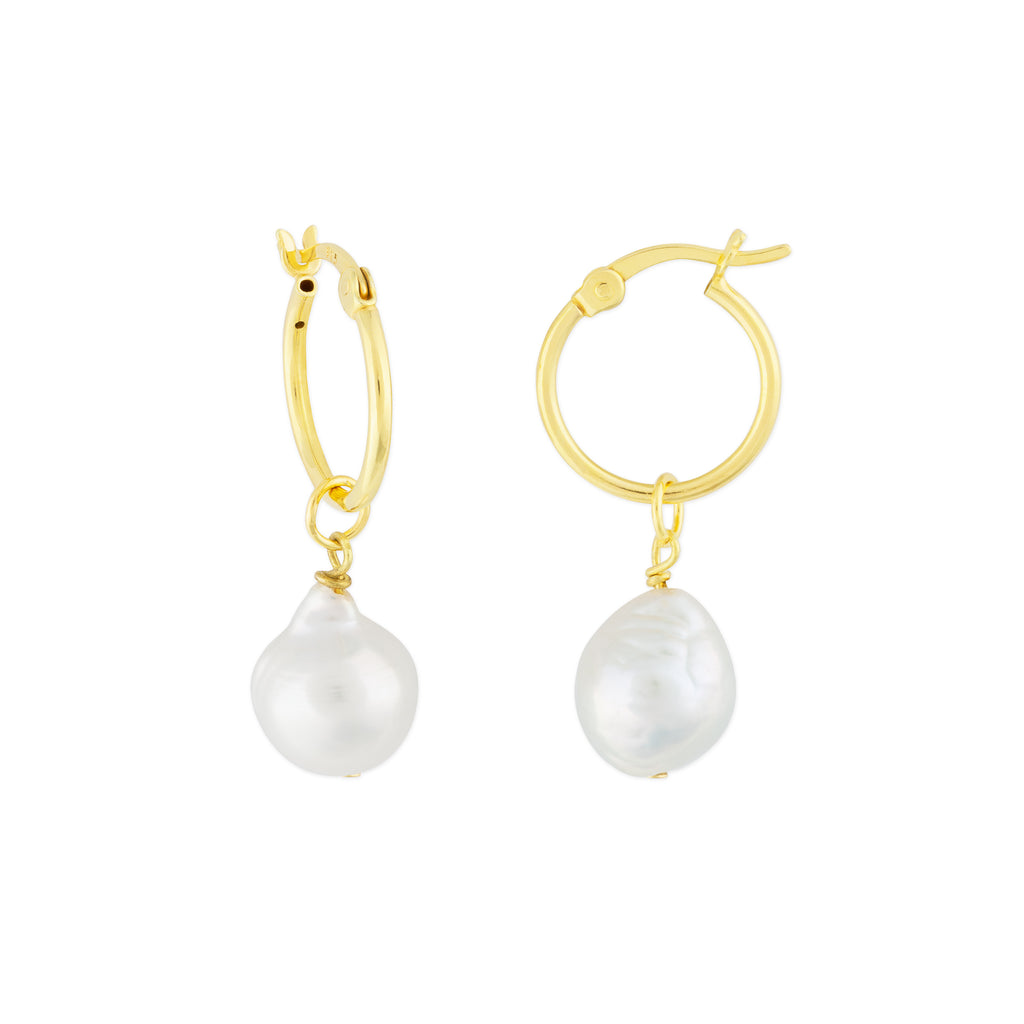 KAIA HOOP EARRINGS GOLD PEARL
