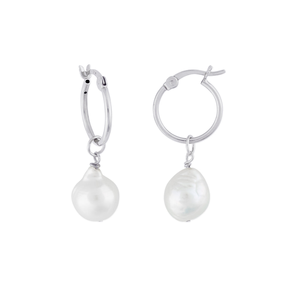 KAIA HOOP EARRINGS SILVER PEARL - eff.Y.bee