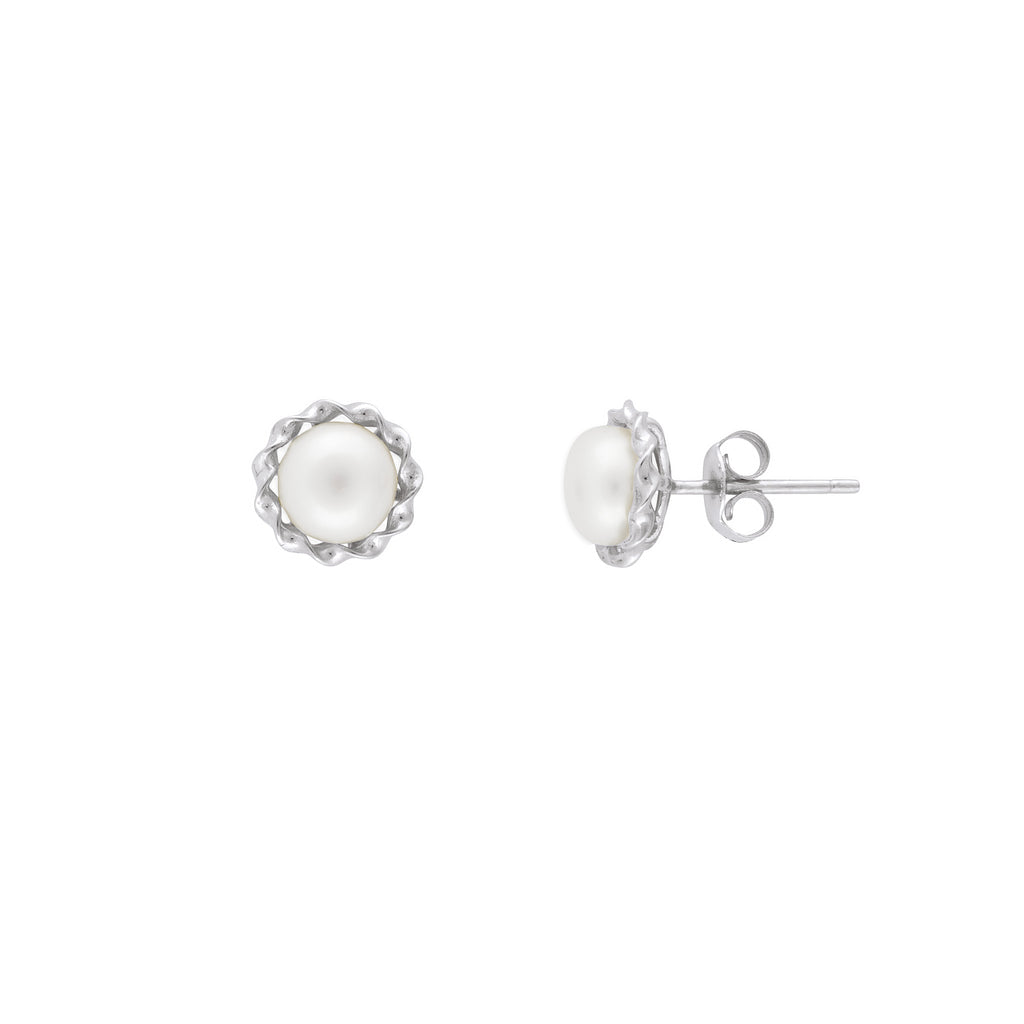 MARGAUX PEARL STUDS SILVER