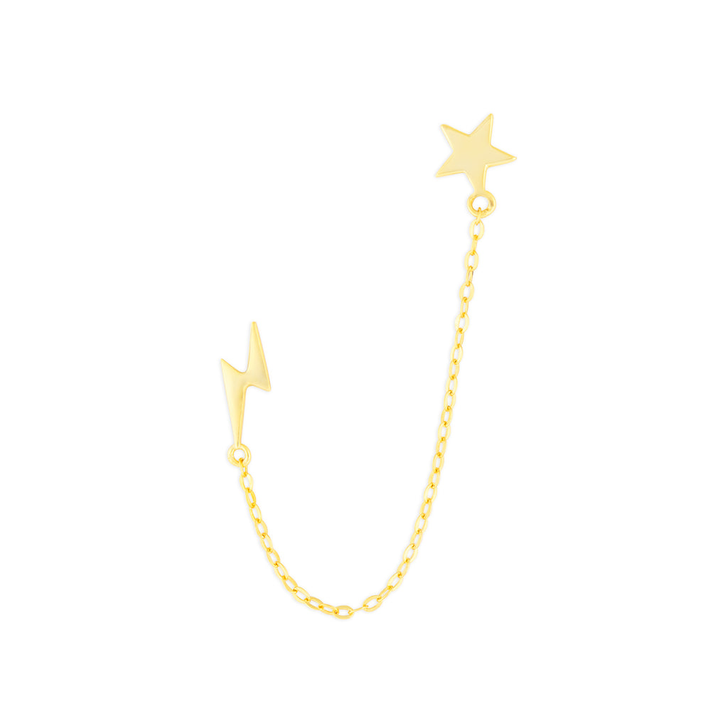 STAR & LIGHTNING CHAIN STUDS GOLD