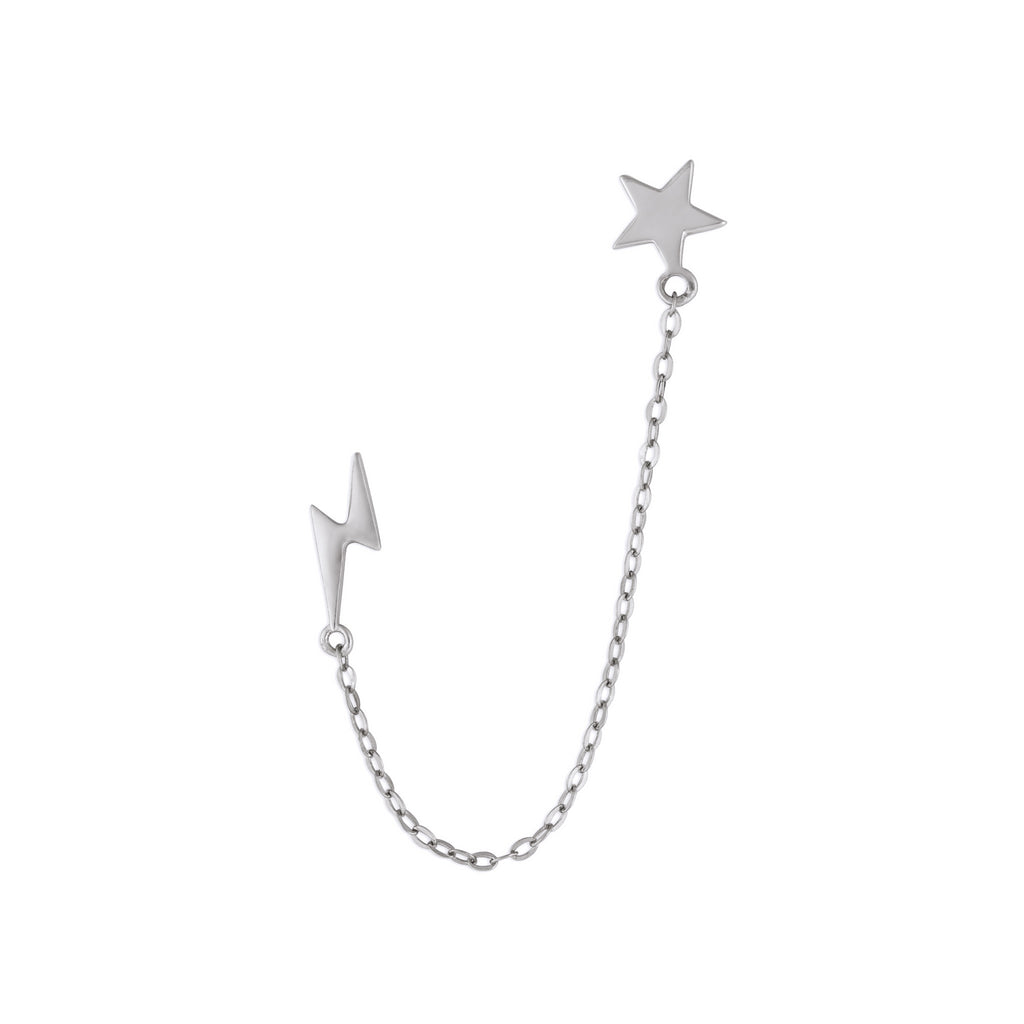 STAR & LIGHTNING CHAIN STUDS SILVER