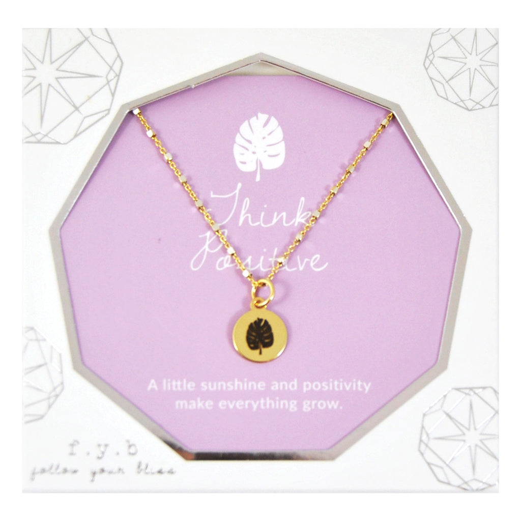 SHIMMER CHARM NECKLACE THINK POSITIVE - eff.Y.bee