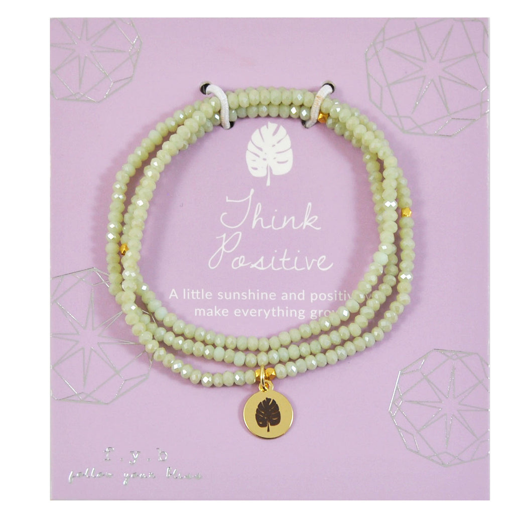CRYSTAL WRAP BRACELET SAGE GREEN THINK POSITIVE - eff.Y.bee