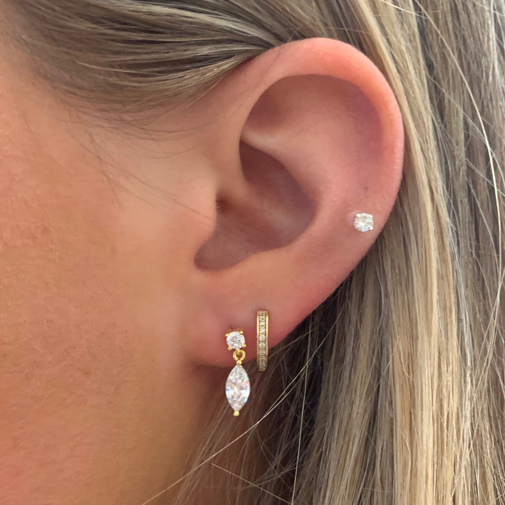 VERA CLEAR STUDS GOLD - eff.Y.bee
