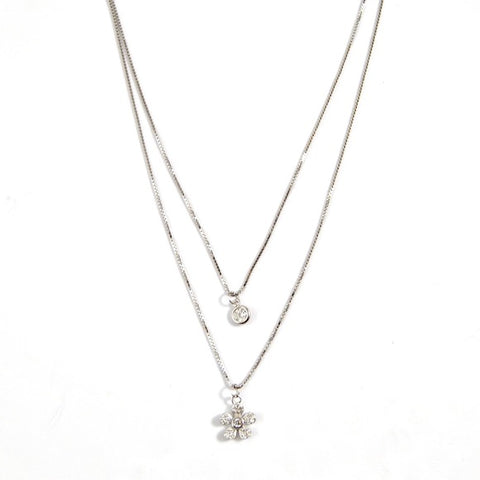 Silver Wildflower Lily Layer Necklace