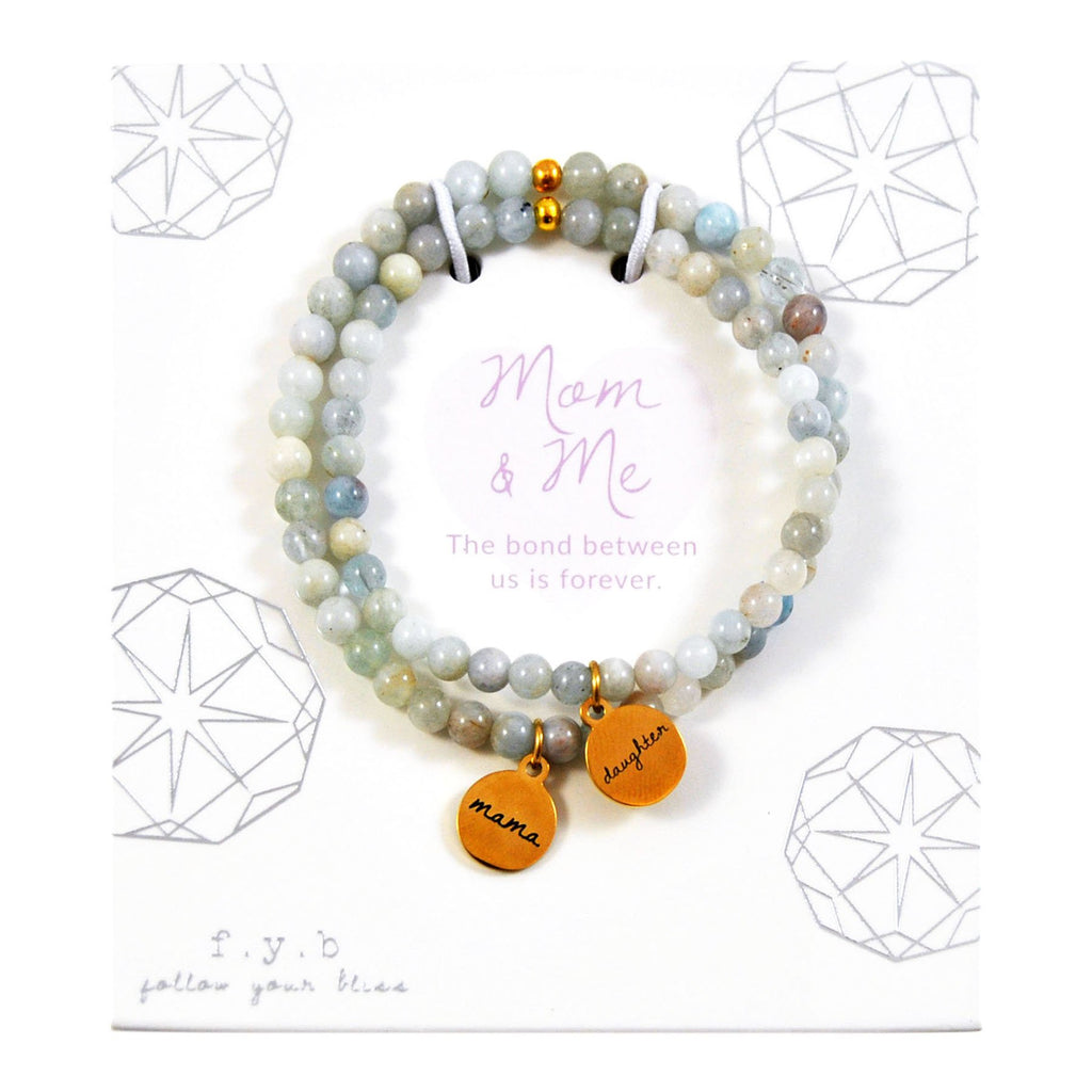 AQUAMARINE MOM & ME BRACELET SET